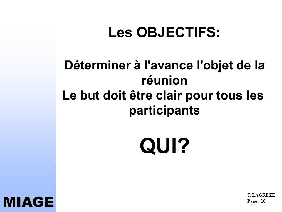 Les OBJECTIFS: Déterminer à l avance l objet de la réunion Le but doit être clair pour tous les participants QUI
