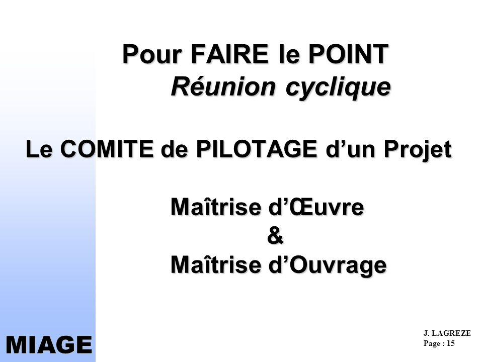 Pour FAIRE le POINT Réunion cyclique Le COMITE de PILOTAGE d'un Projet Maîtrise d'Œuvre & Maîtrise d'Ouvrage