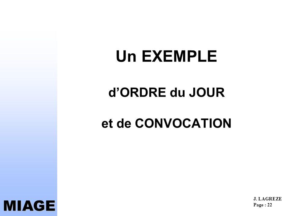 Un EXEMPLE d'ORDRE du JOUR et de CONVOCATION