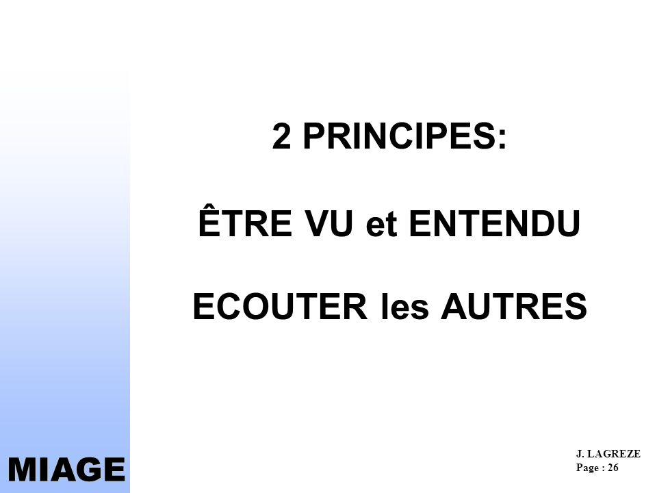 2 PRINCIPES: ÊTRE VU et ENTENDU ECOUTER les AUTRES
