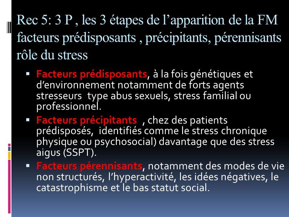 Rec 5: 3 P , les 3 étapes de l'apparition de la FM facteurs prédisposants , précipitants, pérennisants rôle du stress