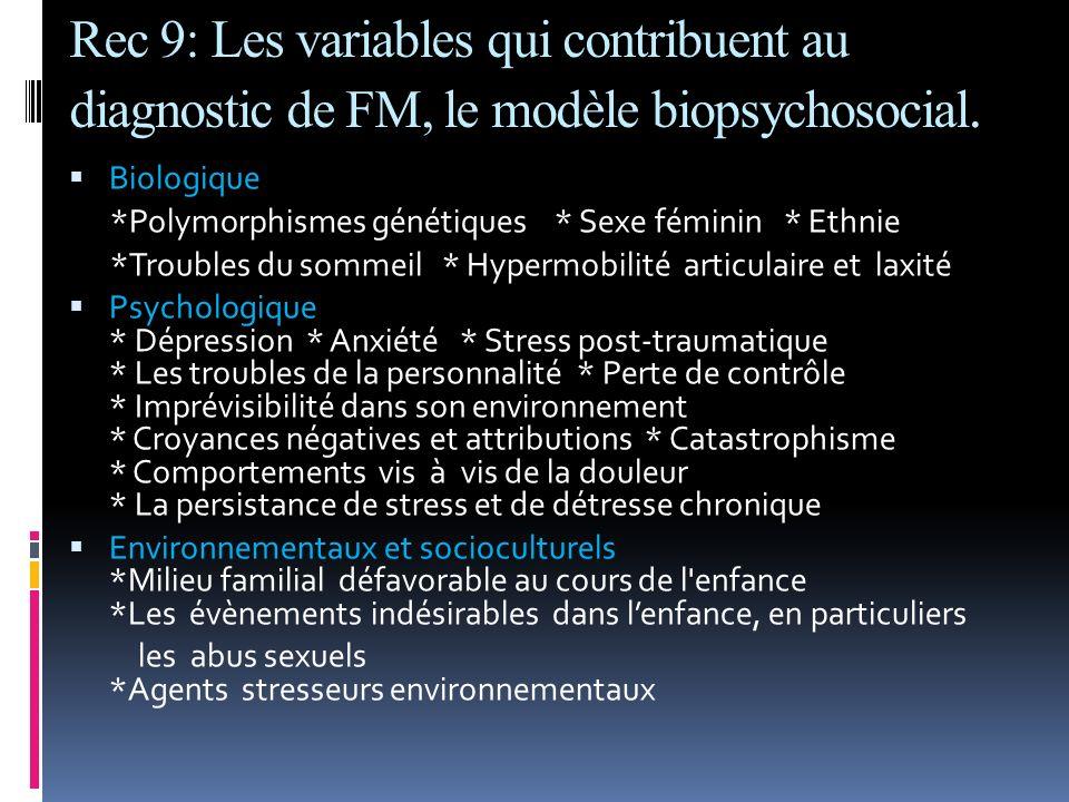 Rec 9: Les variables qui contribuent au diagnostic de FM, le modèle biopsychosocial.