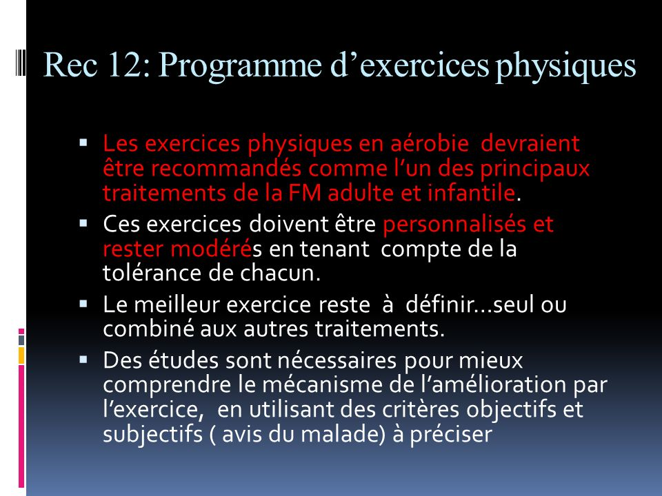 Rec 12: Programme d'exercices physiques