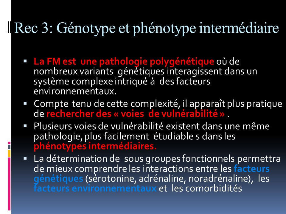 Rec 3: Génotype et phénotype intermédiaire