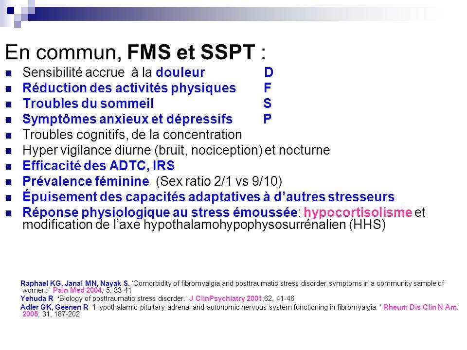 En commun, FMS et SSPT : Sensibilité accrue à la douleur D