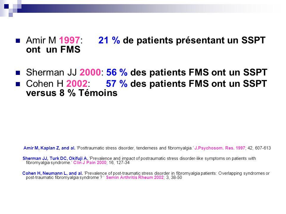 Amir M 1997: 21 % de patients présentant un SSPT ont un FMS
