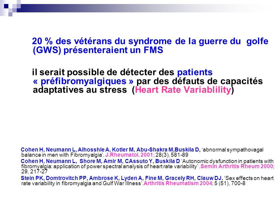 20 % des vétérans du syndrome de la guerre du golfe (GWS) présenteraient un FMS