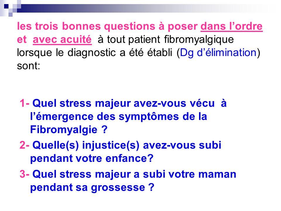 les trois bonnes questions à poser dans l'ordre et avec acuité à tout patient fibromyalgique lorsque le diagnostic a été établi (Dg d'élimination) sont: