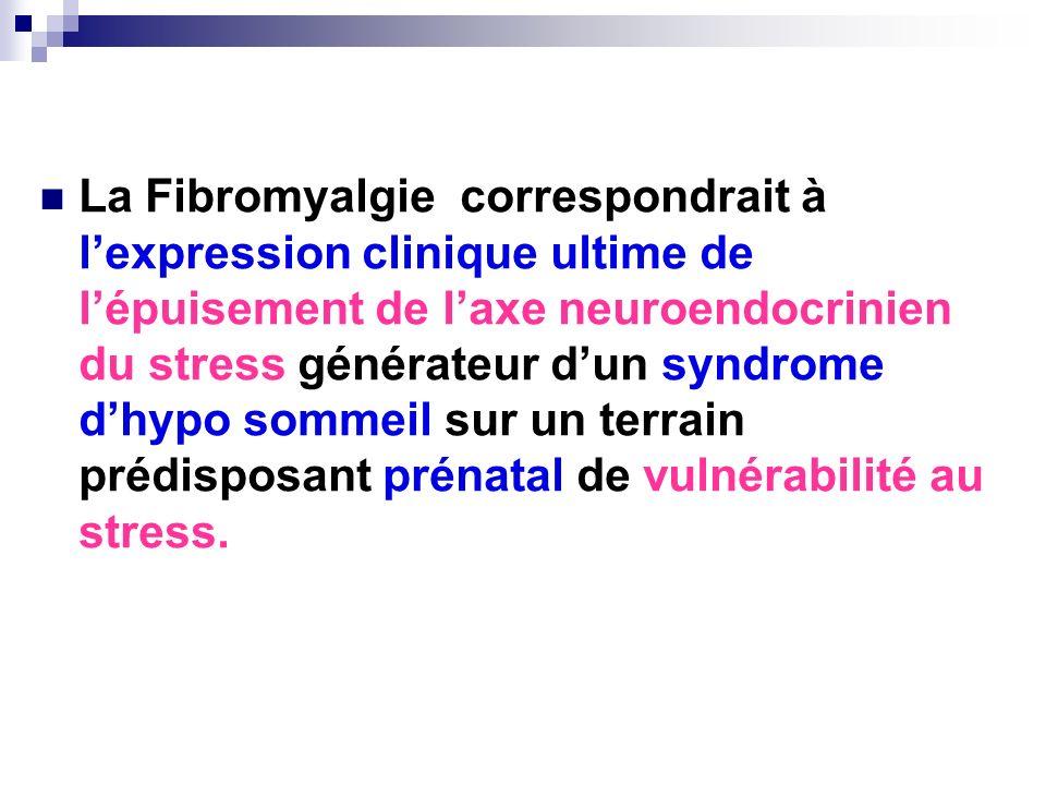 La Fibromyalgie correspondrait à l'expression clinique ultime de l'épuisement de l'axe neuroendocrinien du stress générateur d'un syndrome d'hypo sommeil sur un terrain prédisposant prénatal de vulnérabilité au stress.