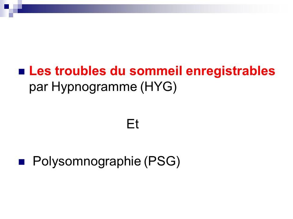 Les troubles du sommeil enregistrables par Hypnogramme (HYG)