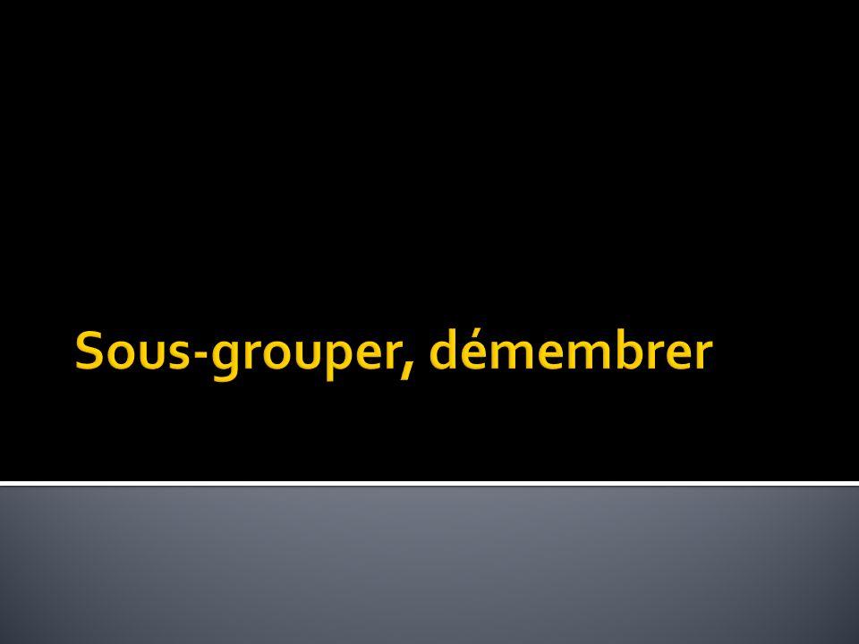 Sous-grouper, démembrer