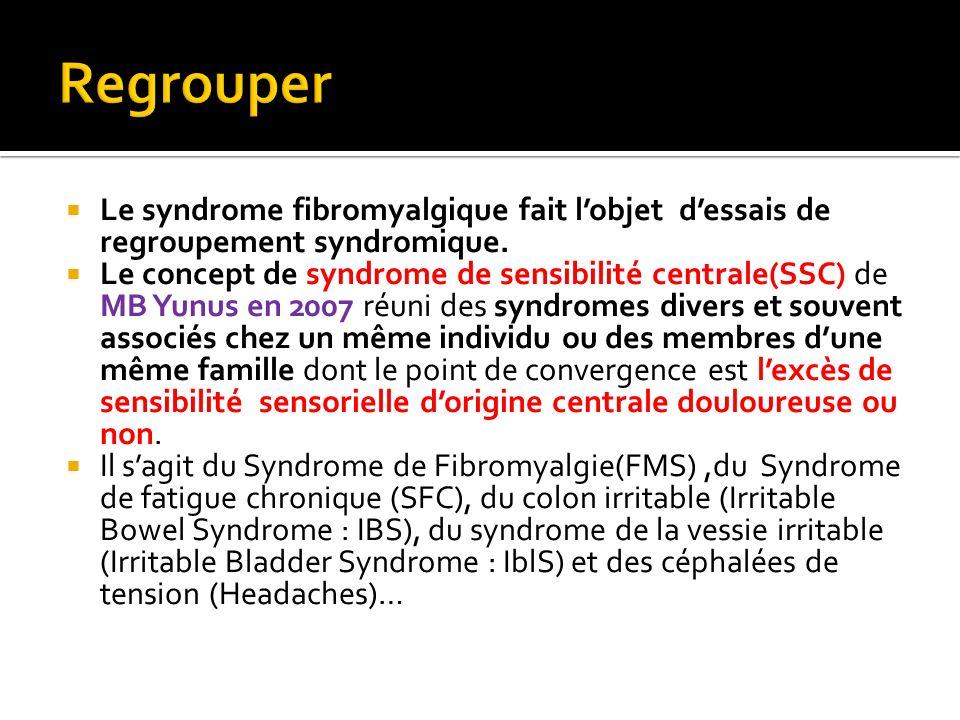 RegrouperLe syndrome fibromyalgique fait l'objet d'essais de regroupement syndromique.