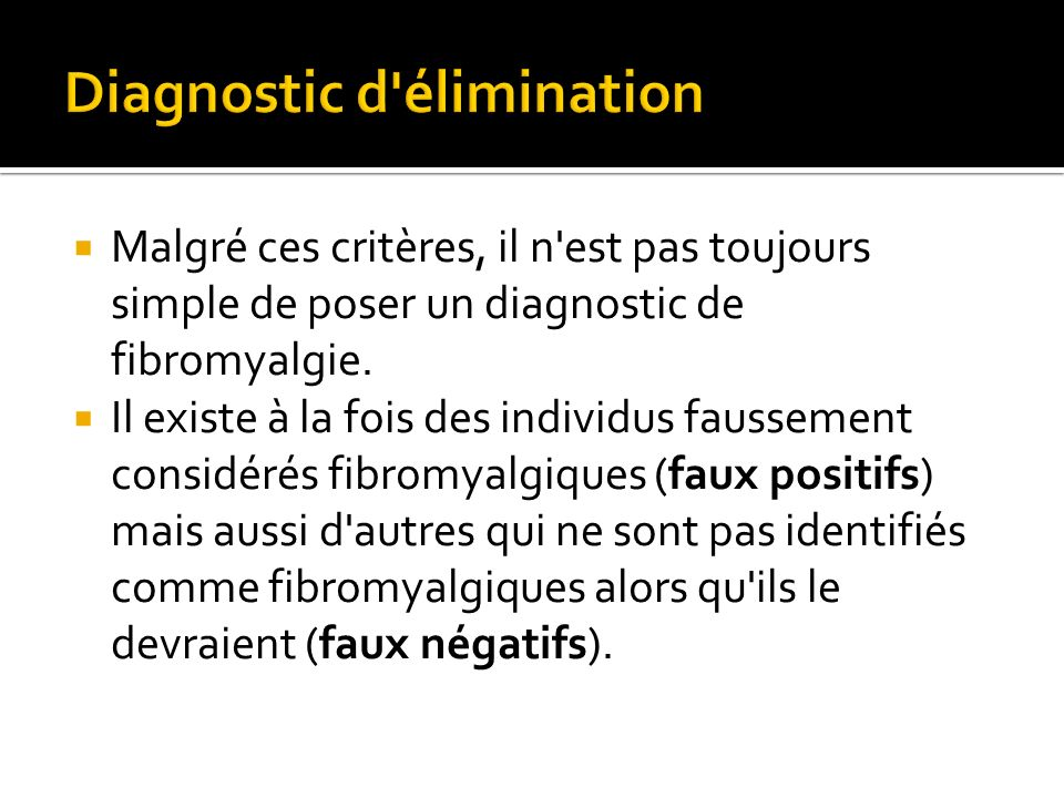 Diagnostic d élimination