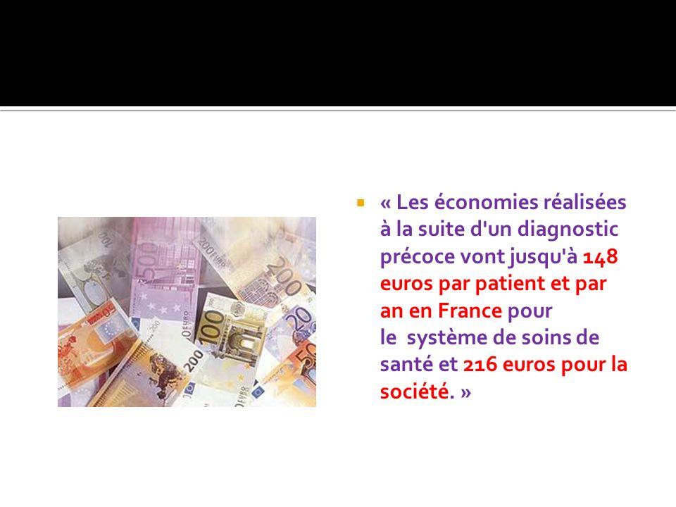 « Les économies réalisées à la suite d un diagnostic précoce vont jusqu à 148 euros par patient et par an en France pour le système de soins de santé et 216 euros pour la société.
