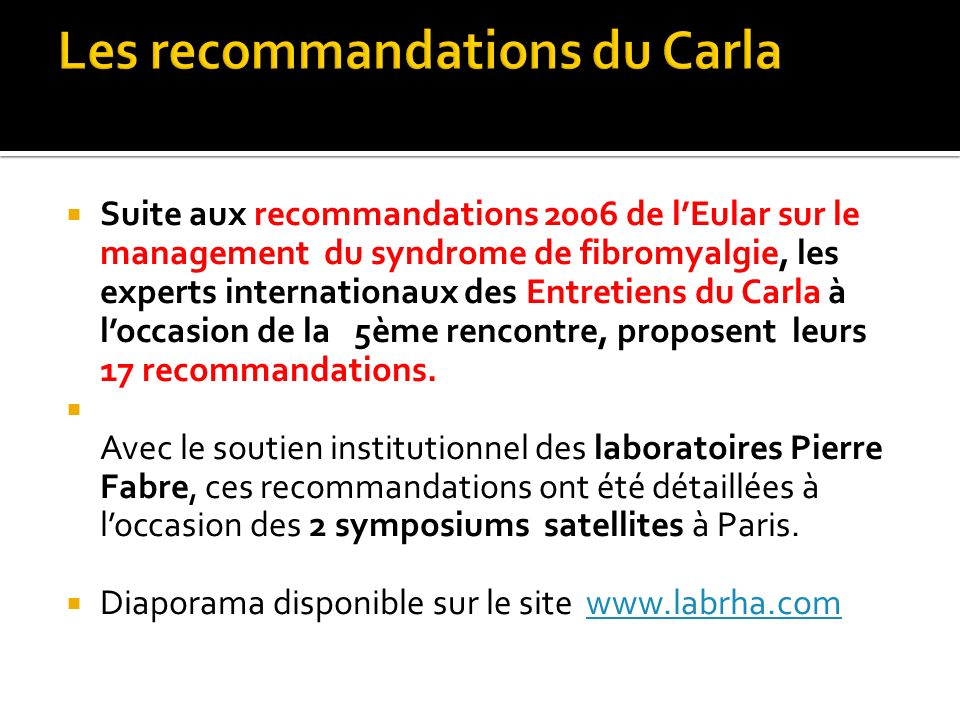 Les recommandations du Carla