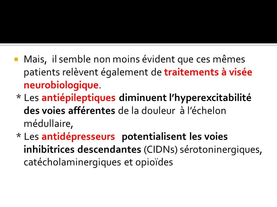 Mais, il semble non moins évident que ces mêmes patients relèvent également de traitements à visée neurobiologique.