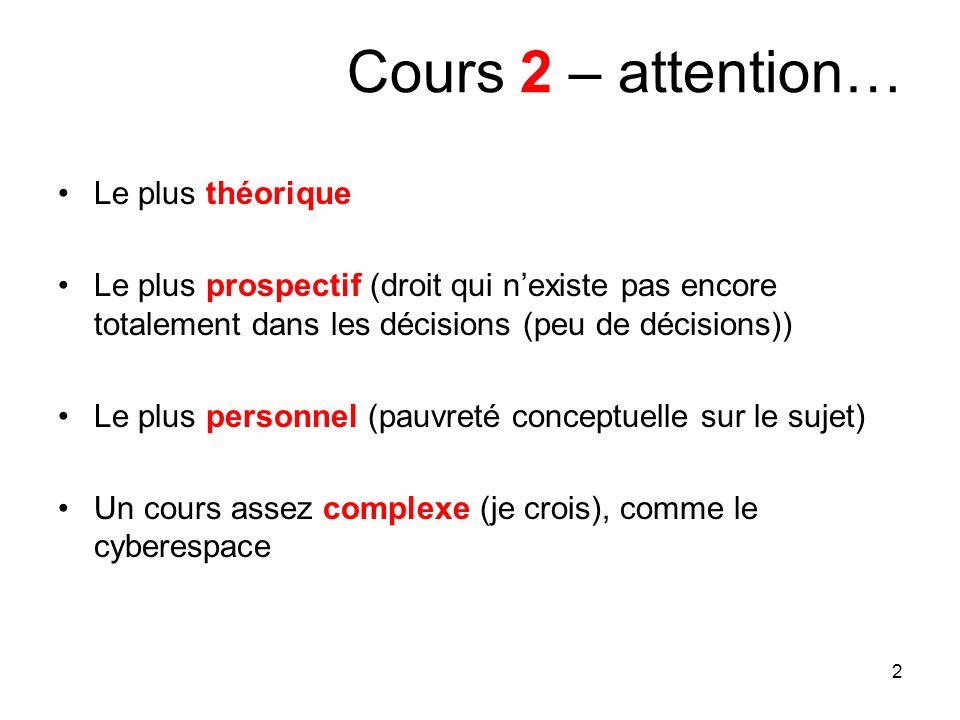 Cours 2 – attention… Le plus théorique