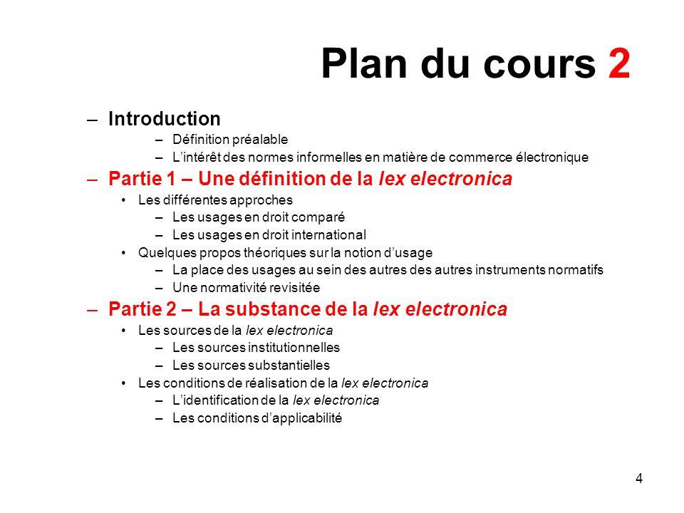 Plan du cours 2 Introduction