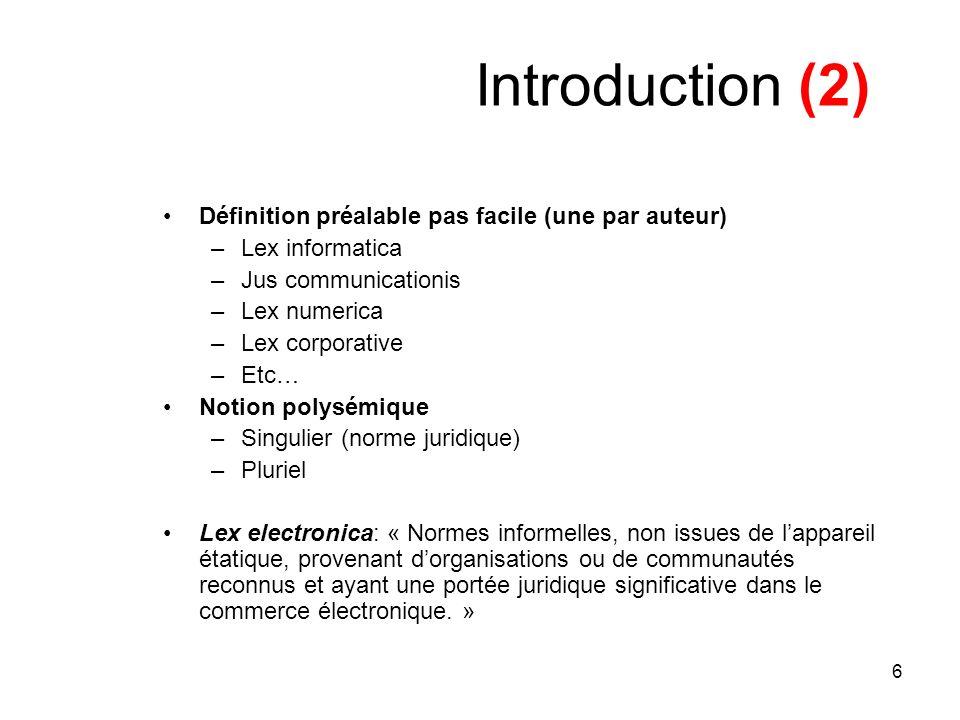 Introduction (2) Définition préalable pas facile (une par auteur)