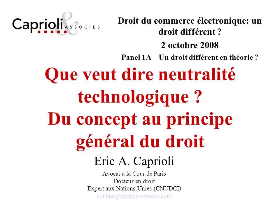 Droit du commerce électronique: un droit différent