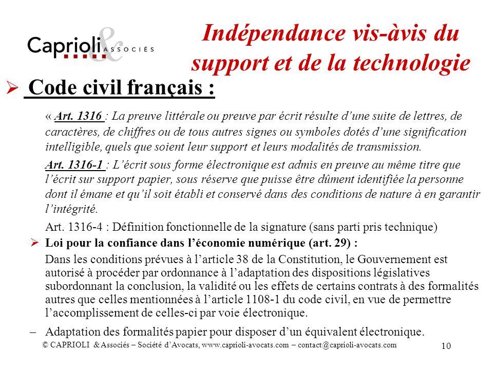 Indépendance vis-àvis du support et de la technologie
