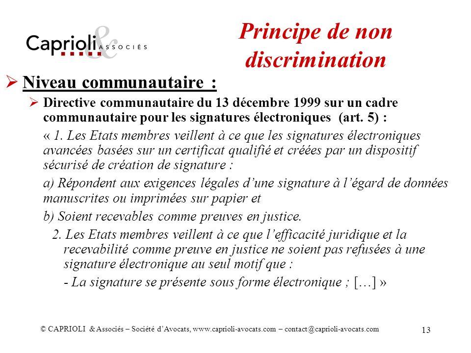 Principe de non discrimination