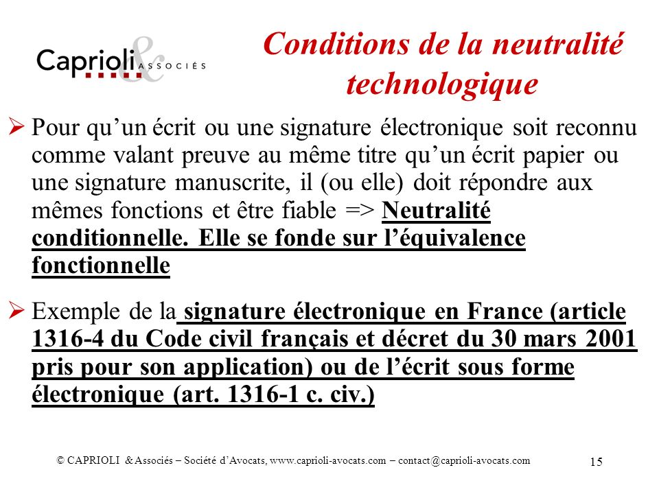 Conditions de la neutralité technologique
