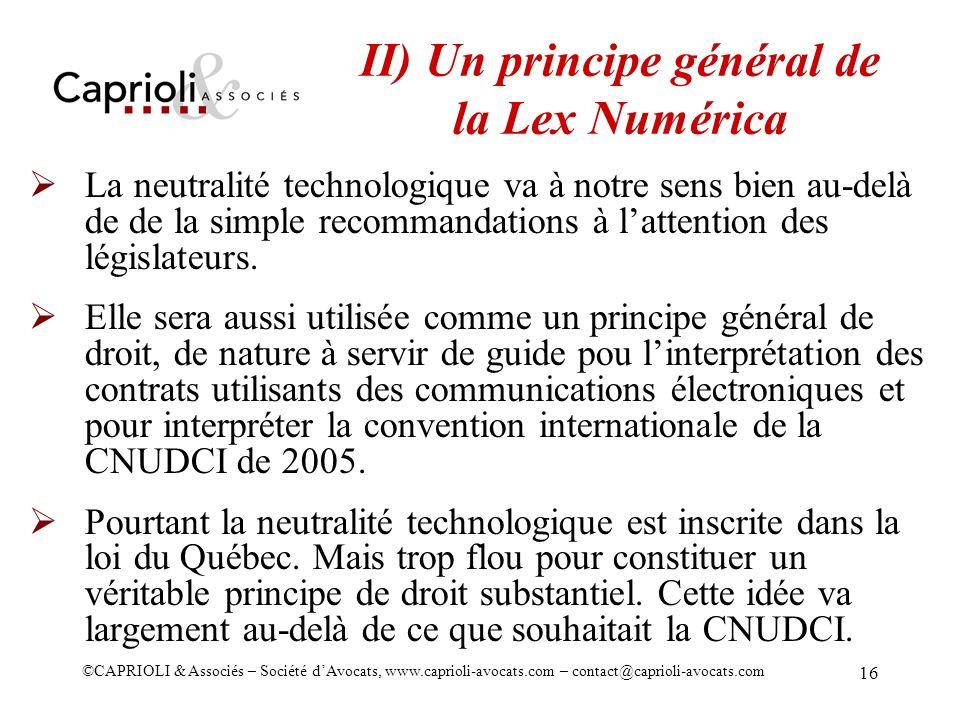 II) Un principe général de la Lex Numérica