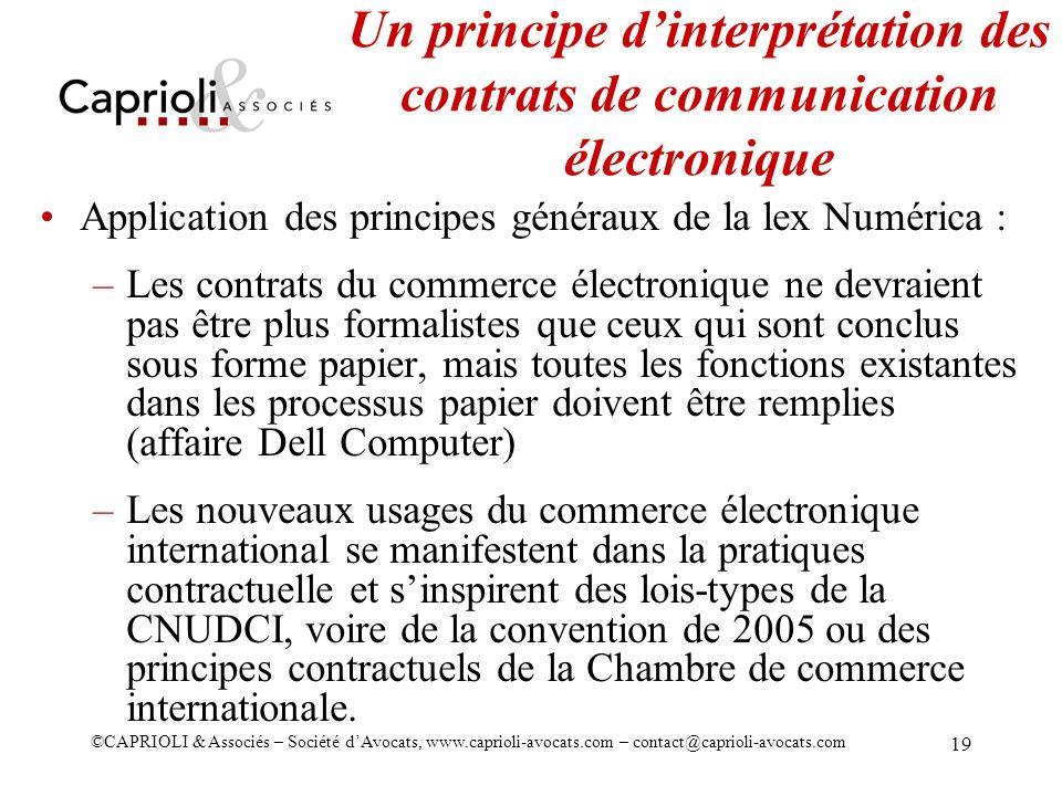 Un principe d'interprétation des contrats de communication électronique