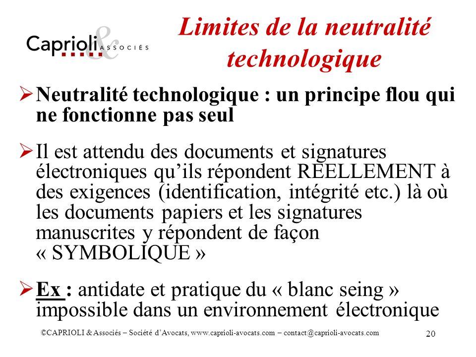 Limites de la neutralité technologique