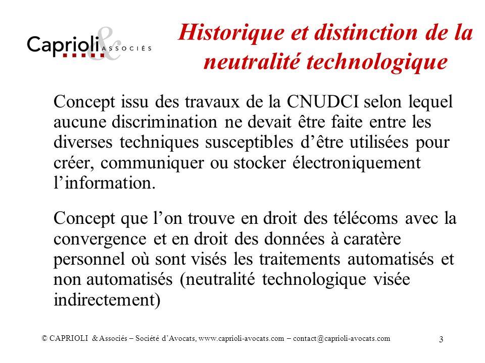 Historique et distinction de la neutralité technologique