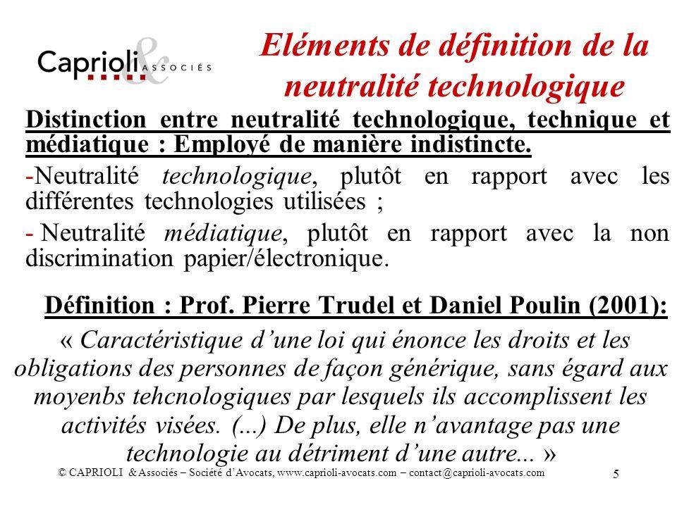 Eléments de définition de la neutralité technologique