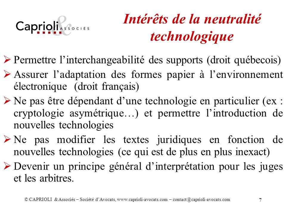 Intérêts de la neutralité technologique