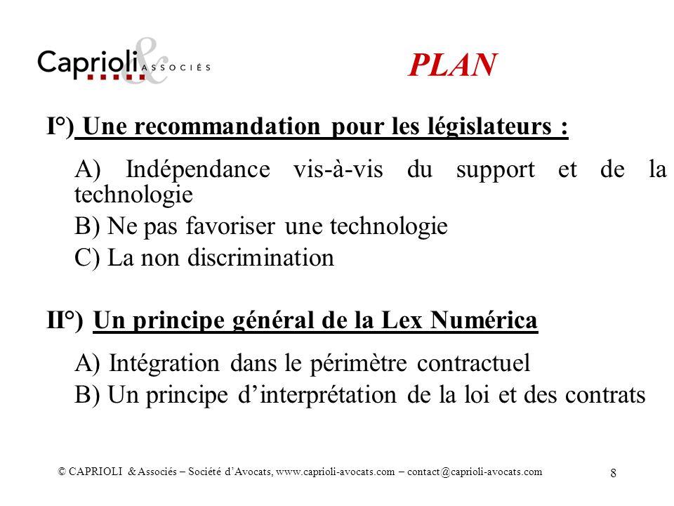 PLAN I°) Une recommandation pour les législateurs :