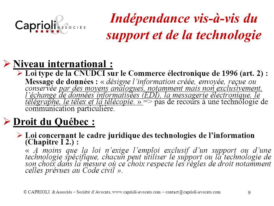 Indépendance vis-à-vis du support et de la technologie