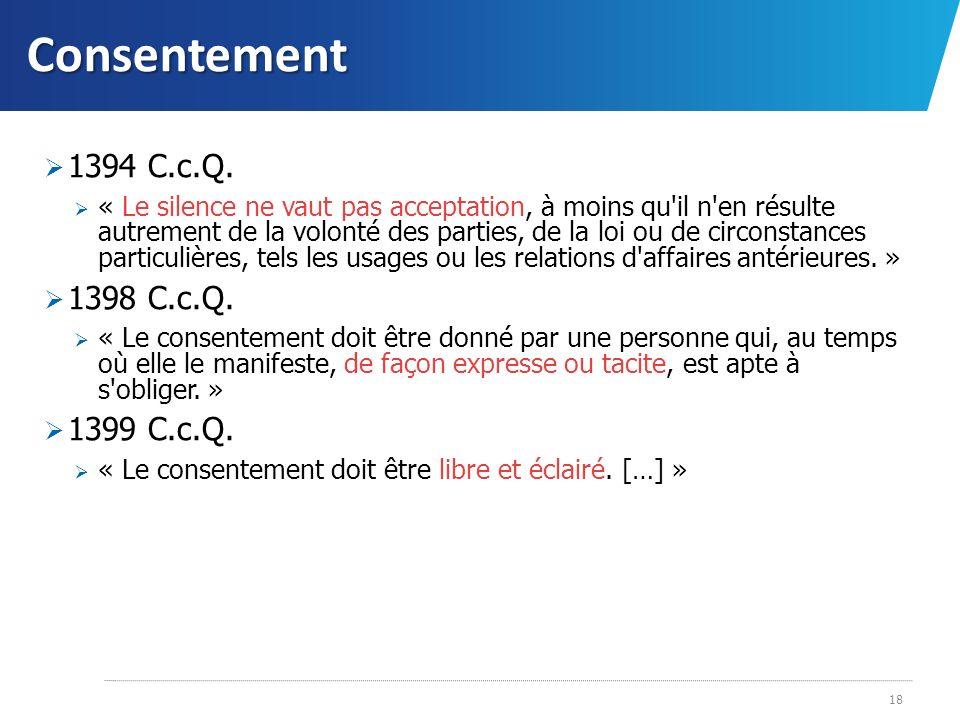 Consentement 1394 C.c.Q. 1398 C.c.Q. 1399 C.c.Q.