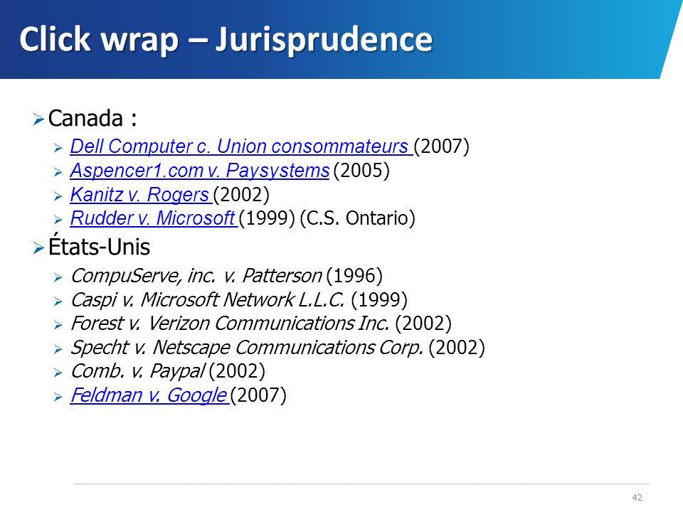 Click wrap – Jurisprudence