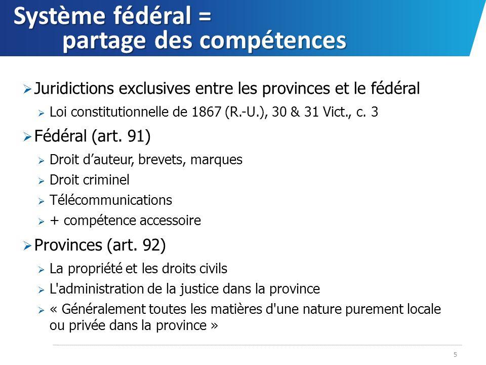 Système fédéral = partage des compétences