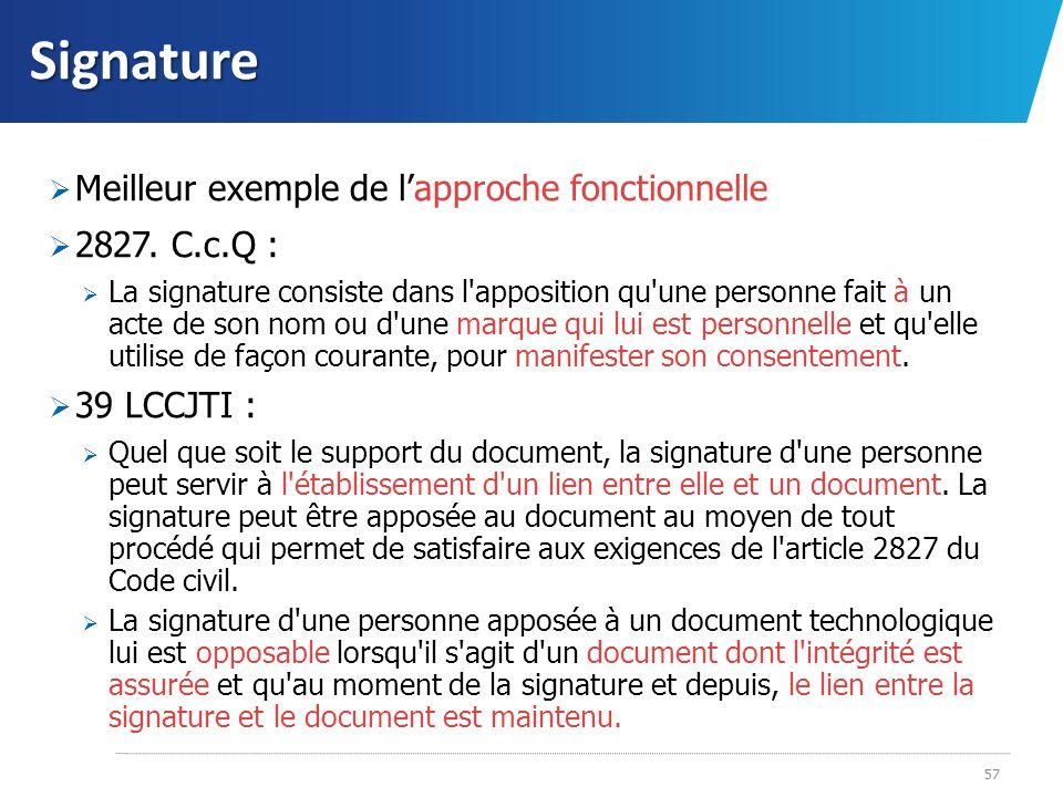 Signature Meilleur exemple de l'approche fonctionnelle 2827. C.c.Q :