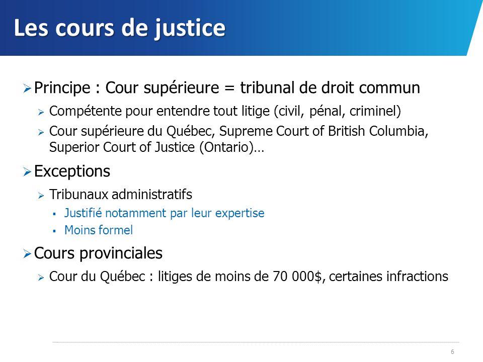 Les cours de justice Principe : Cour supérieure = tribunal de droit commun. Compétente pour entendre tout litige (civil, pénal, criminel)