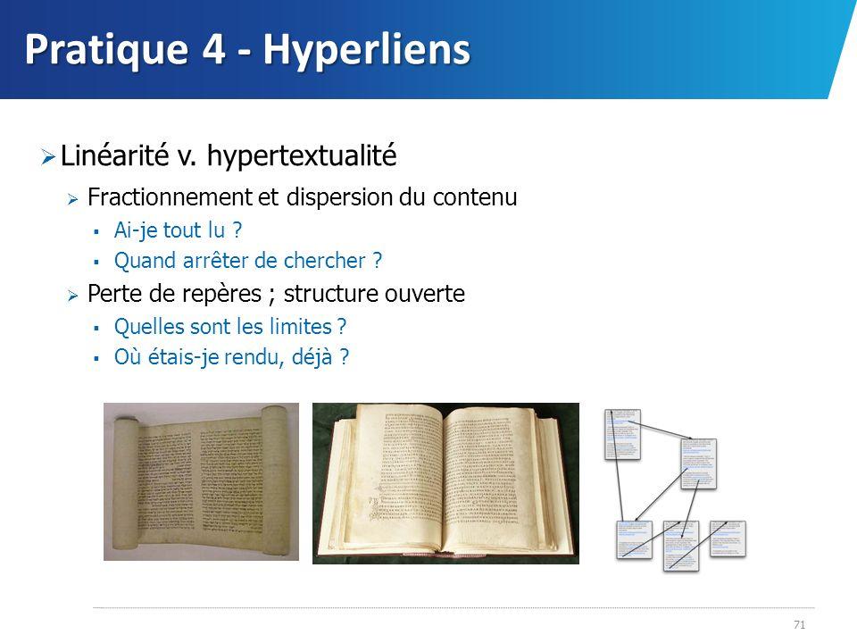 Pratique 4 - Hyperliens Linéarité v. hypertextualité