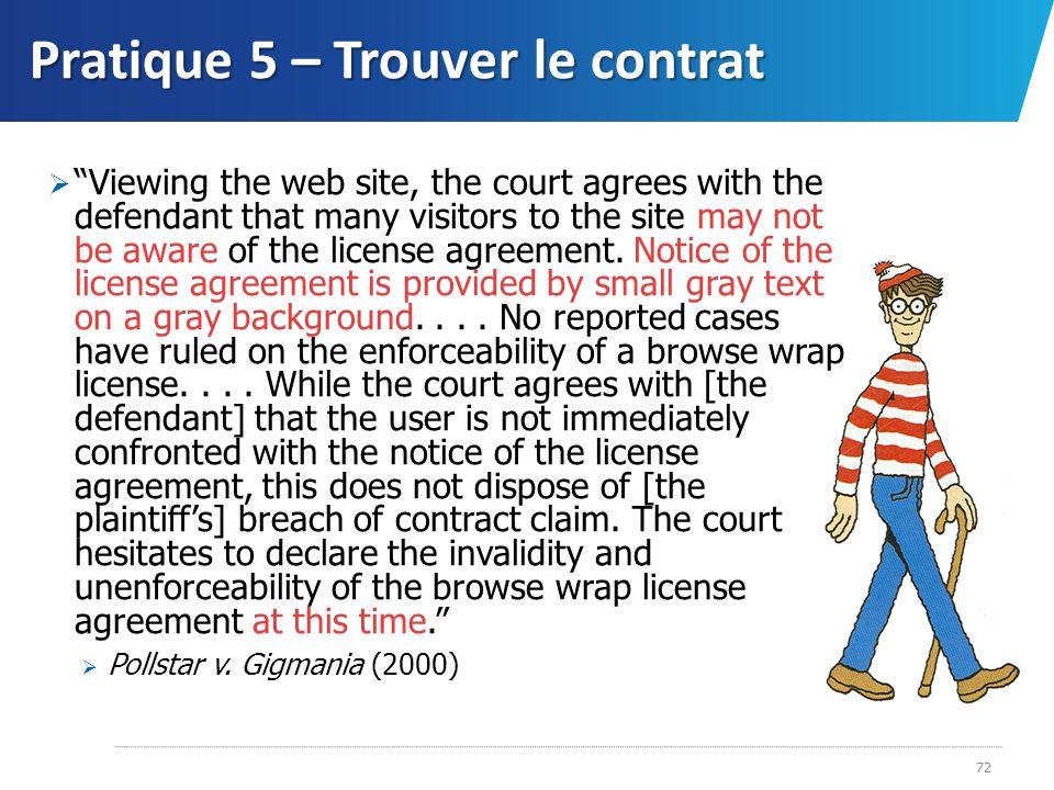 Pratique 5 – Trouver le contrat