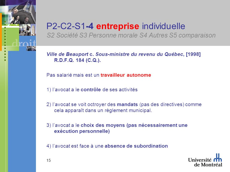 P2-C2-S1-4 entreprise individuelle S2 Société S3 Personne morale S4 Autres S5 comparaison