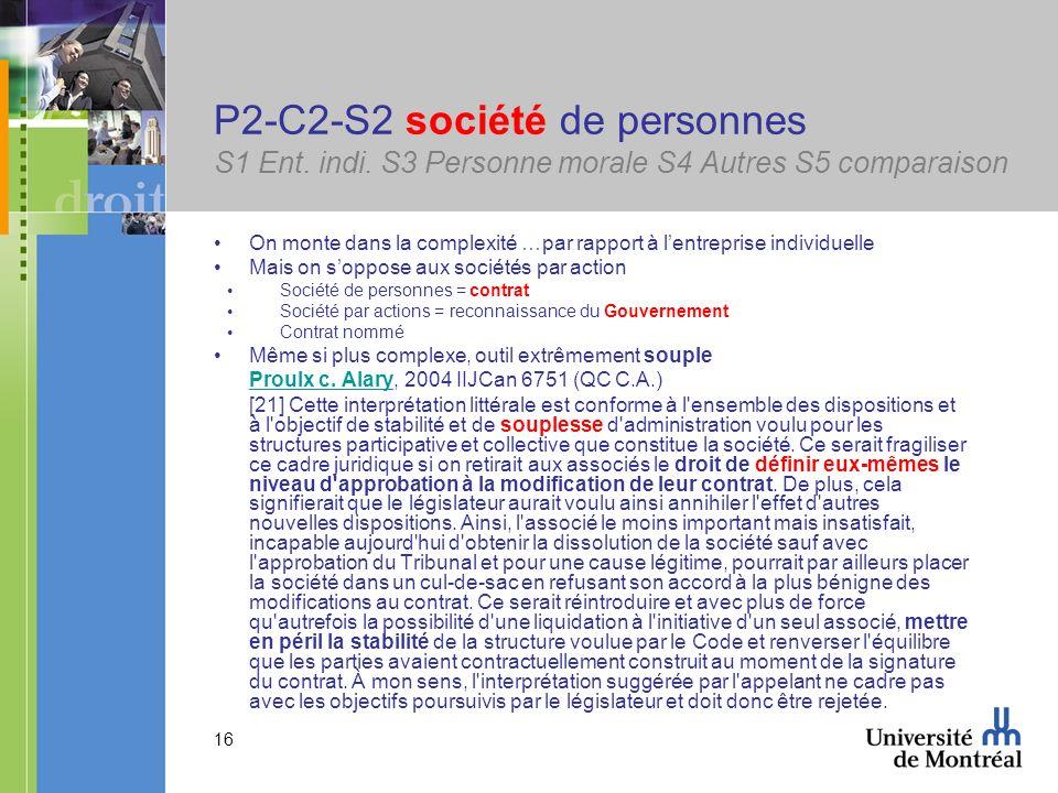 P2-C2-S2 société de personnes S1 Ent. indi