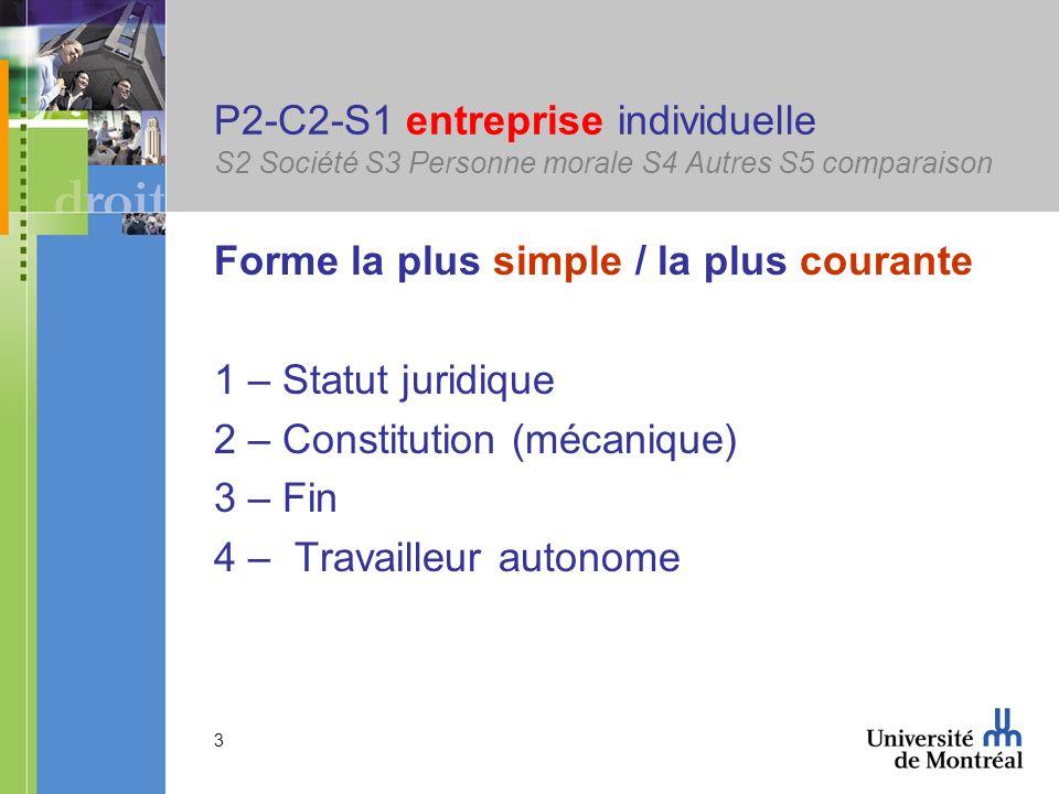 P2-C2-S1 entreprise individuelle S2 Société S3 Personne morale S4 Autres S5 comparaison