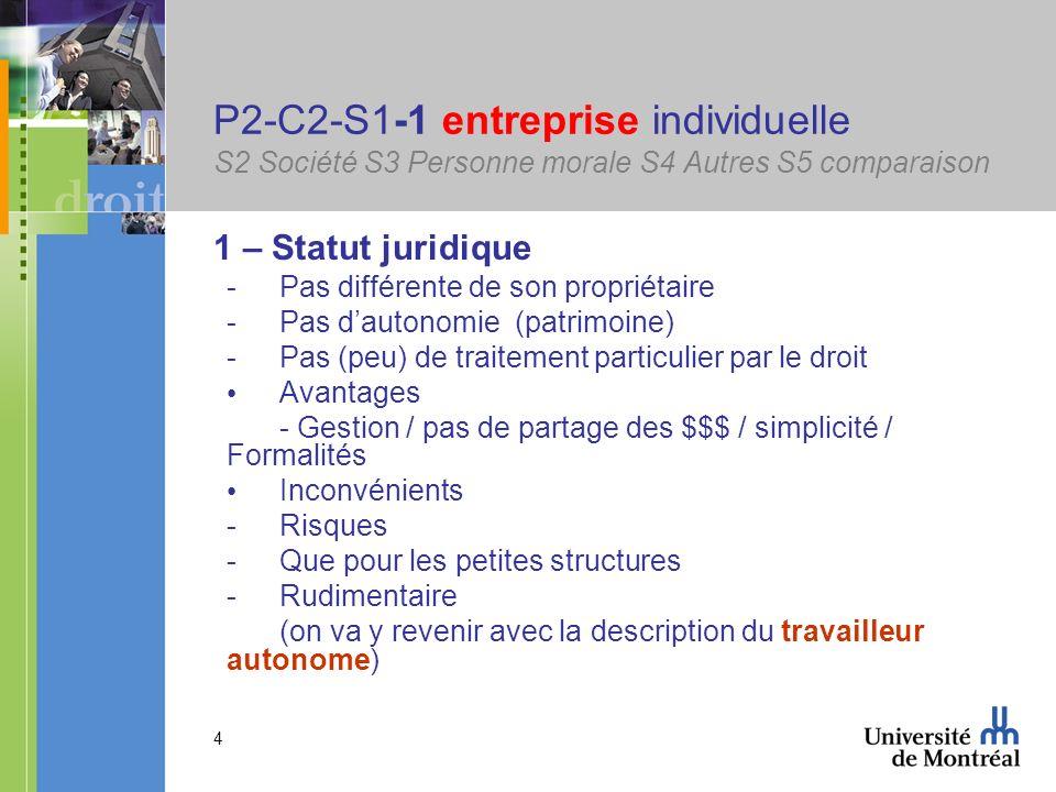 P2-C2-S1-1 entreprise individuelle S2 Société S3 Personne morale S4 Autres S5 comparaison