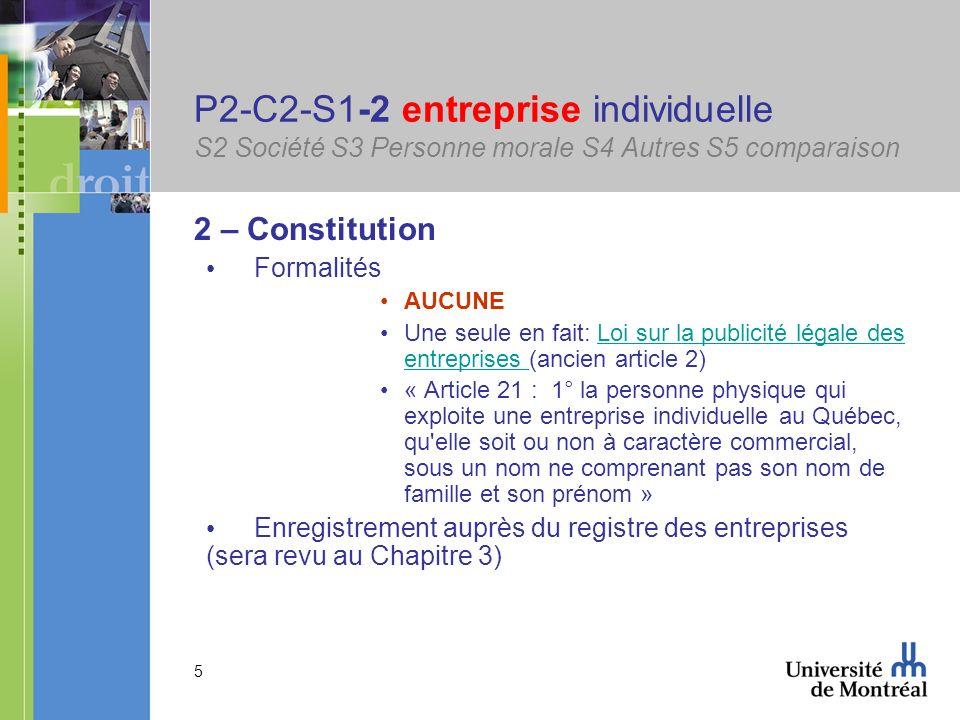 P2-C2-S1-2 entreprise individuelle S2 Société S3 Personne morale S4 Autres S5 comparaison