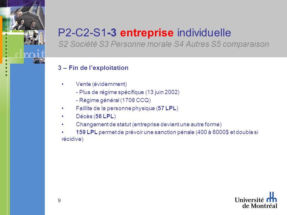 P2-C2-S1-3 entreprise individuelle S2 Société S3 Personne morale S4 Autres S5 comparaison