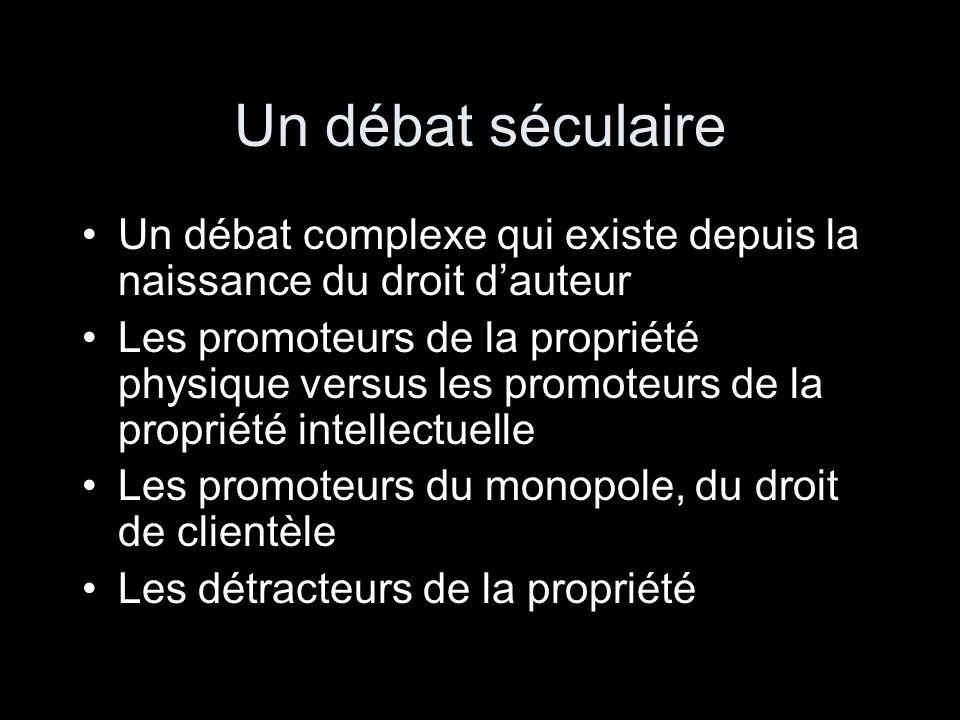 Un débat séculaire Un débat complexe qui existe depuis la naissance du droit d'auteur.