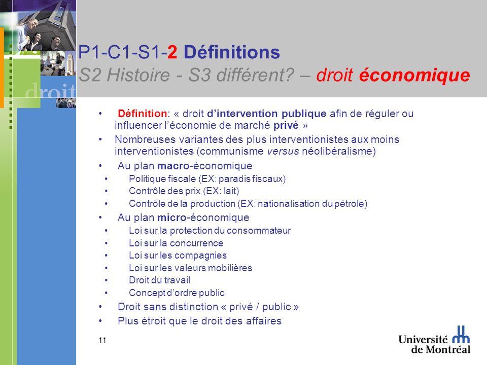 P1-C1-S1-2 Définitions S2 Histoire - S3 différent – droit économique